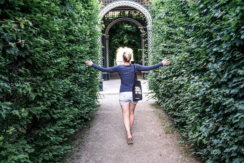 Walking through the Schoenbrunn Park in Vienna