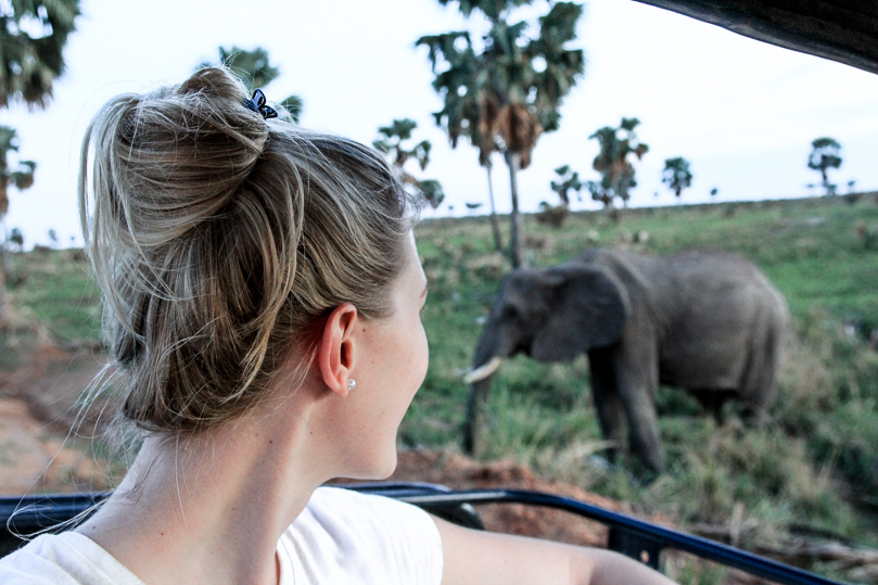 Julia watching Elephants Murchison Falls National Park