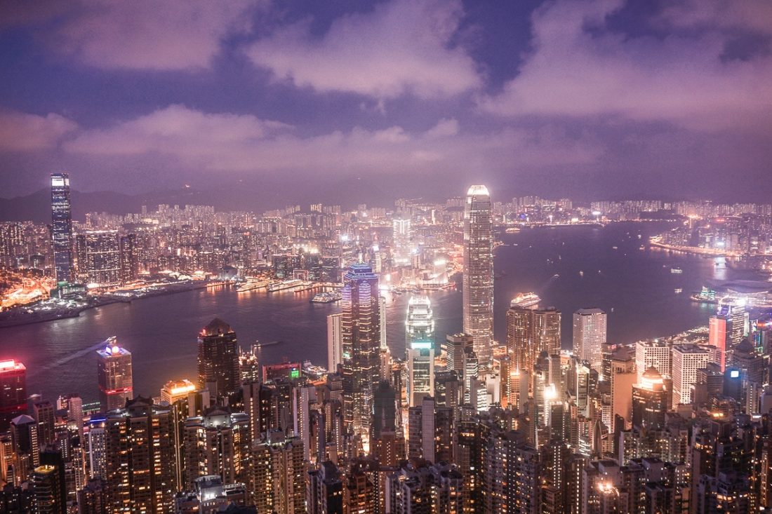 Victoria Peak Skyline View Night Hong Kong